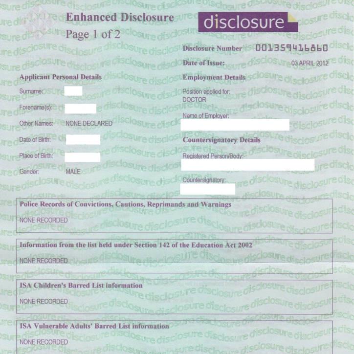Changes to CRB (Criminal Records Bureau)