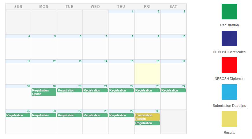NEBOSH Exam Calendar Dates & Global Examination Locations SHEilds